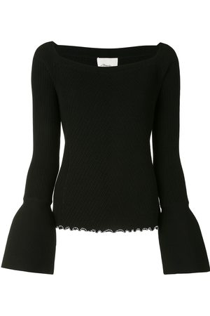 3.1 Phillip Lim LS WOOL RIBBED OPEN NECK SWEATER