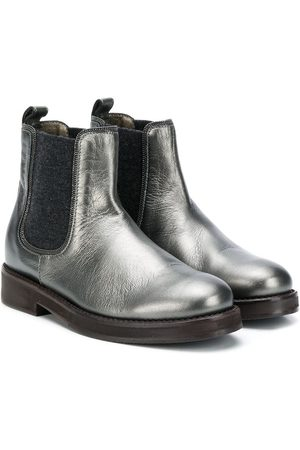 Brunello Cucinelli Kids Cracked-effect ankle boots