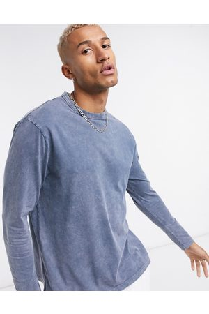 ASOS Relaxed long sleeve t-shirt with navy acid wash