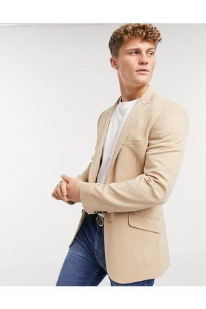 ASOS Skinny blazer in camel oxford-Beige