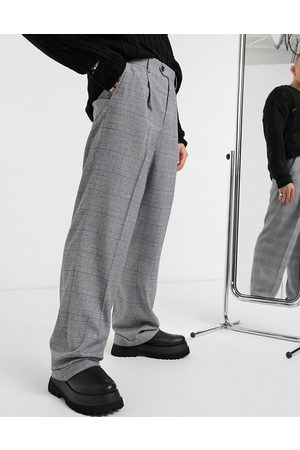ASOS Wide leg smart trouser in check with turn up-Grey