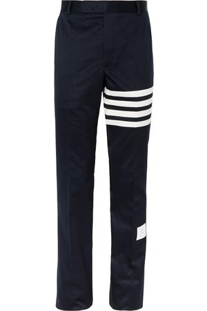 Thom Browne Homem Calças Justas - Slim-Fit Tapered Striped Cotton-Twill Chinos