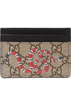 Gucci Homem Bolsas & Carteiras - Printed Monogrammed Coated-Canvas and Leather Cardholder