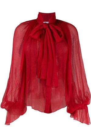 Atu Body Couture Balloon-sleeve chiffon blouse