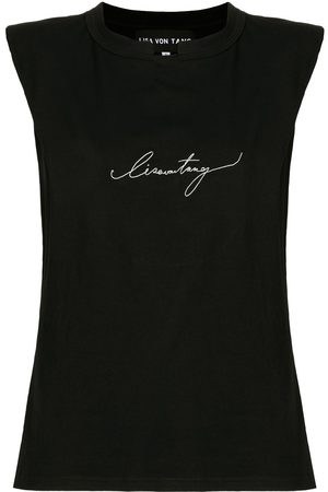 Lisa Von Tang Embroidered logo muscle T-shirt