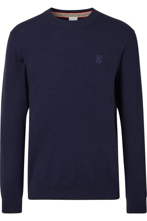 Burberry Homem Camisolas - Monogram-embroidered fine-knit jumper