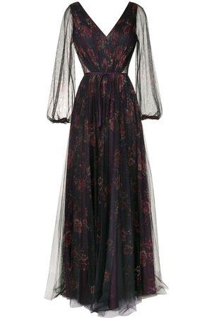 Marchesa Notte Bridesmaids Sheer floral maxi dress