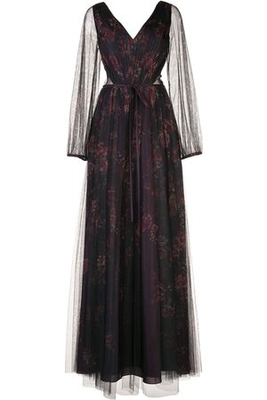 Marchesa Notte Floral-print sheer panel gown