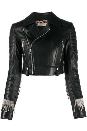 Philipp Plein Crystal-fringe biker jacket