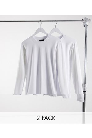 ASOS 2 pack muscle fit long sleeve t-shirt with crew neck-White