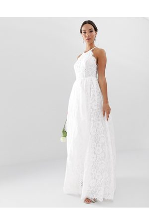 ASOS Amalie lace halter neck maxi wedding dress-White