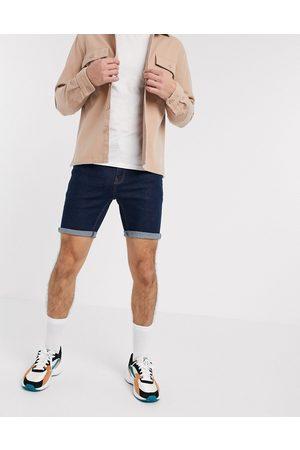 ASOS DESIGN Homem Calções - Skinny denim shorts in indigo-Blue