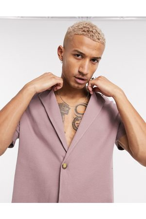 ASOS DESIGN Co-ord waffle wrap revere collar polo in washed purple