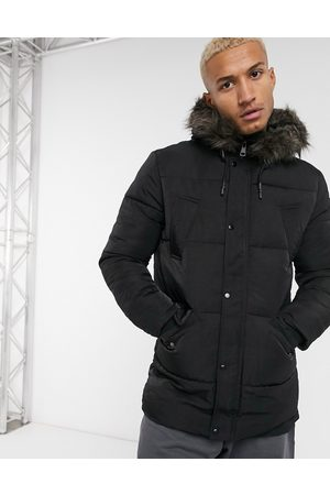 ASOS Puffer jacket with faux fur hood in black