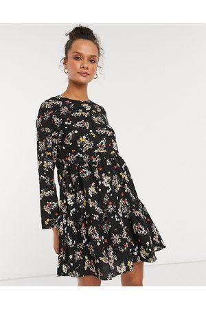 ASOS Long sleeve tiered smock mini dress in black floral print-Multi