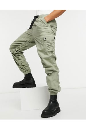 ASOS Tapered cargo joggers with ruching detail-Green