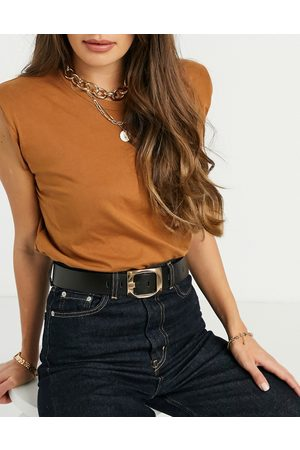 ASOS Chunky gold buckle belt in black
