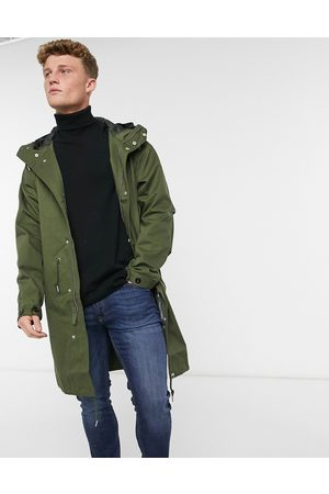 Pretty Green Lomas longline parka jacket in khaki