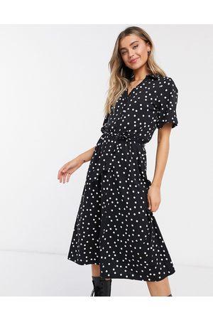 ASOS Midi button through shirt dress in black polka dot