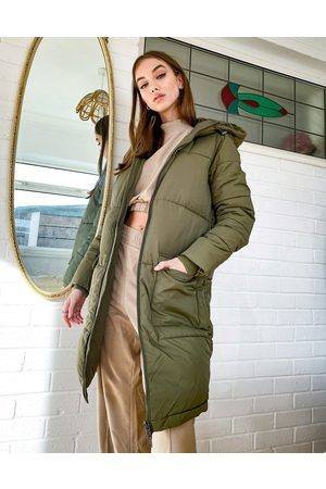 Object Longline Padded Coat in khaki-Green