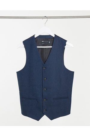 ASOS Wedding skinny wool mix suit waistcoat in navy herringbone