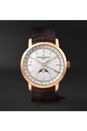 Vacheron Constantin Traditionnelle Complete Calendar Automatic 41mm 18-Karat Pink Gold and Alligator Watch, Ref. No. 4010T/000R-B344