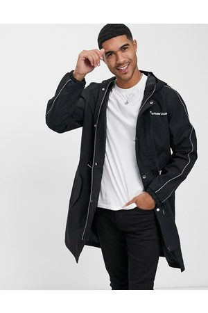 The Couture Club Piped lightweight mac logo jacket-Black