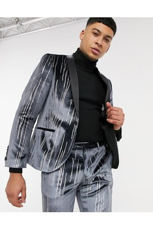Twisted Tailor Suit jacket with satin lapel in grey velvet with silver detail