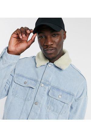 ASOS DESIGN Tall oversized denim jacket with detachable borg collar in light wash blue
