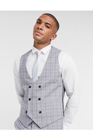 Harry Brown Slim fit double breasted suit waistcoat-Grey