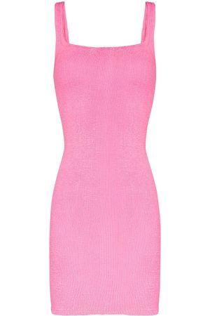 Hunza G Mulher Vestidos de Malha - Fitted knitted tank dress