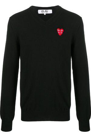 Comme des Garçons V-neck logo-patch knit jumper