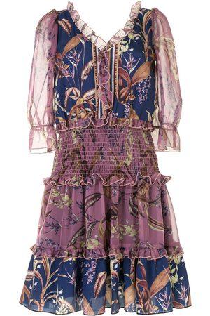 Marchesa Notte Floral print smocked waist dress