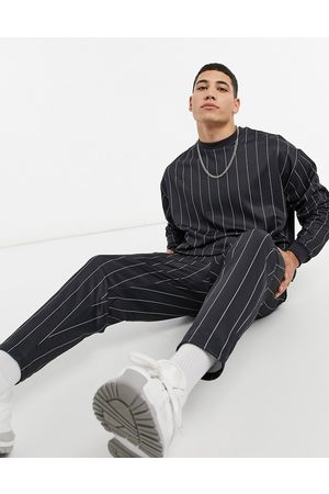 ASOS Co-ord smart tapered joggers in stripe-Black