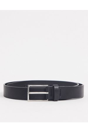 ASOS Slim belt in black faux leather with silver buckle-Multi