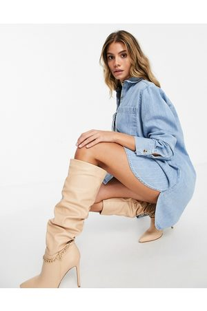 ASOS DESIGN Oversized shirt dress in midwash blue