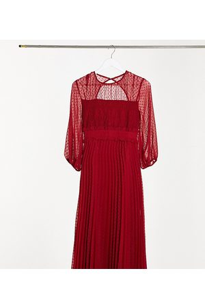 ASOS ASOS DESIGN Tall dobby pleated shirred midi dress in red