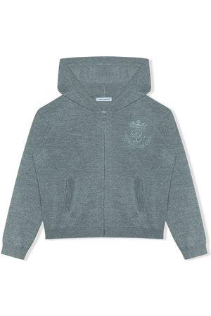Dolce & Gabbana Logo-embroidered zip-front hoodie