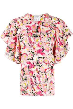Stella McCartney Floral-print flounce-sleeve blouse