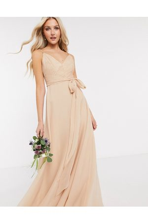 ASOS Bridesmaid cami maxi dress with ruched bodice and tie waist in sand-Brown