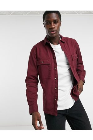 ASOS Twill shacket in burgundy-Red