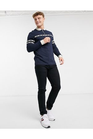ASOS Co-ord long sleeve polo shirt with zip neck and taping in navy