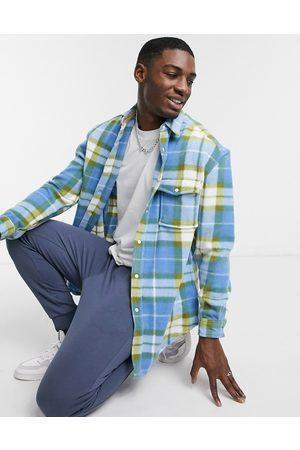 ASOS 90s oversized polar fleece check shirt in blue and white