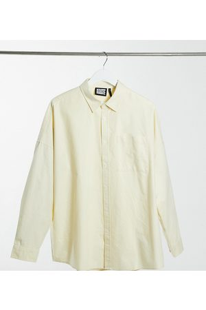Reclaimed Vintage Inspired long sleeve cotton shirt in washed stone
