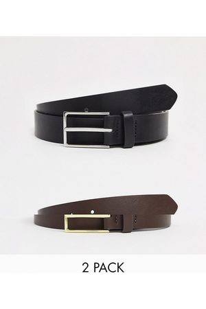 ASOS 2 pack slim belt in black and brown faux leather with silver and gold buckle SAVE-Multi