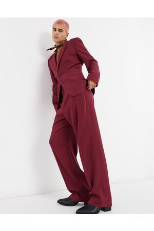 ASOS Wide leg suit trousers in burgundy twill-Green