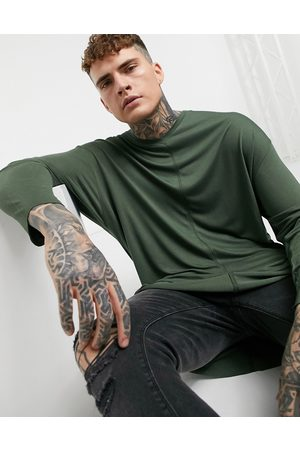 ASOS Oversized long sleeve viscose t-shirt with v-neck in green