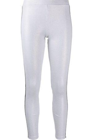 Balmain Logo trim ribbed leggings