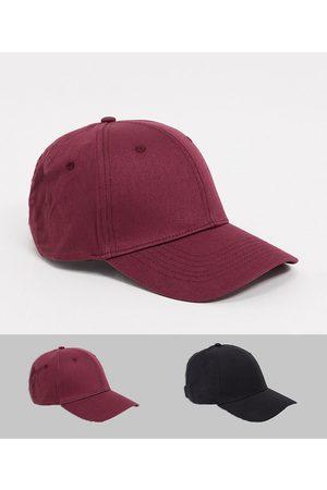 ASOS DESIGN 2 pack baseball cap in black and burgundy cotton-Multi