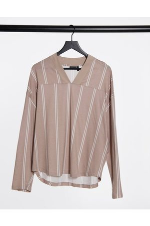 ASOS Oversized long sleeve striped t-shirt in beige and white-Multi